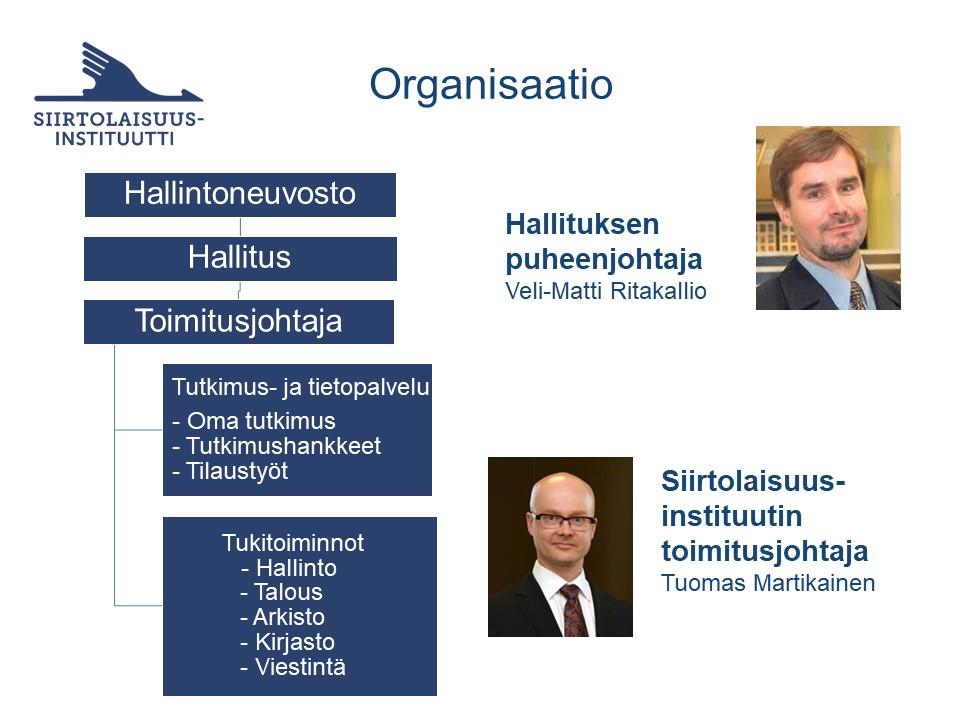 Organisaatiokaavio ylhäältä alas: hallintoneuvosto, hallitus, toimitusjohtaja, tutkimus ja tietopalvelu, tukitoiminnot.
